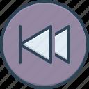 already, play previous, antecedently, arrow, previous, earlier, past icon