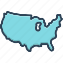 province, county, constituency, continent, region, territory, shire icon