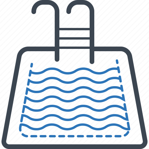 hotel, pool, swimming, wave icon