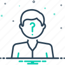 suspected, suspicious, doubtful, questionable, anonymous icon