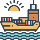 chartering, maritime, ocean, sea, transition, transport icon
