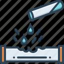 corrosiveness, drop, harmful, harmonized icon
