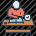course, coursework, desk, people, studies, syllabus, work icon