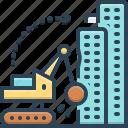building, demolition, dismantling, hammer, machinery, work icon