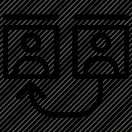 arrow, group, line, user icon