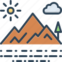 cloud, hill station, location, mountain, mountainview, place, sun icon