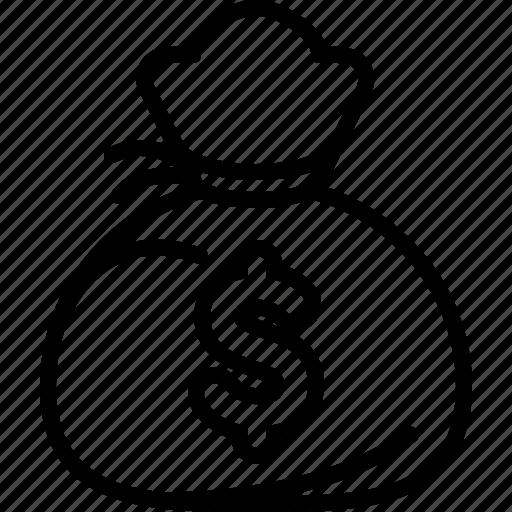 amount, bag, cash, finance, money, money bag icon