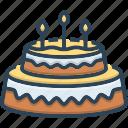 bakery, cake, candle, celebrate, cream, delicious, dessert icon