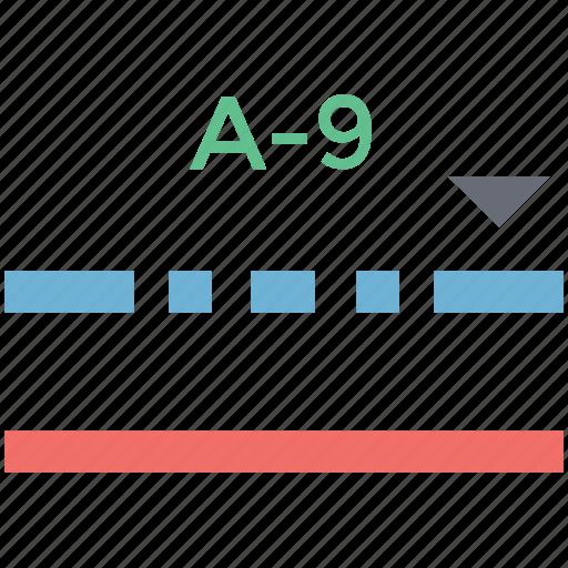 a to 9, alphabetical, alphabetically, formula, line icon