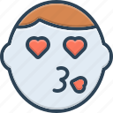 caricature, emoticon, emotion, face, feel, funny, kiss icon