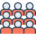 assemble, cluster, collect, congregate, gather, mass, rendezvous icon