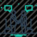 business, conversation, debate, handsake, negotiate, partnership, undersell icon