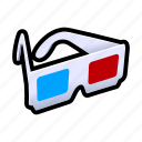 dimension, glasses, third icon