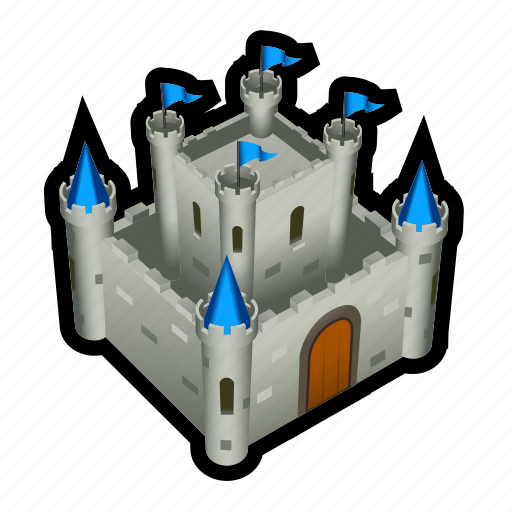 castle, flag, fortress, king, medieval, queen, secure icon