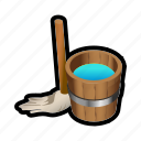 broom, cleaning, soap, wash, water icon