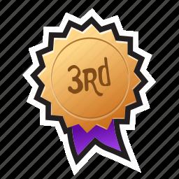 award, bronze, game, medal, podium, third, win icon