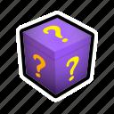 box, gift, mark, present, question, surprise