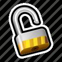 block, lock, padlock, safe, security, unlocked icon