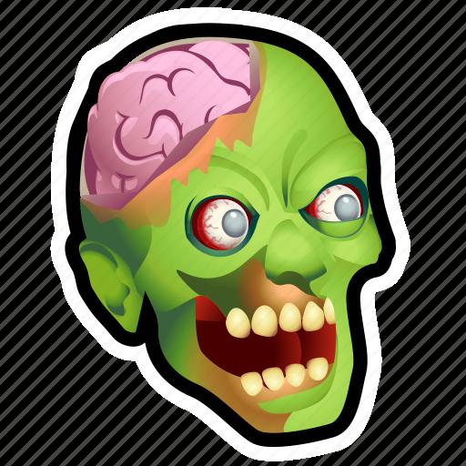 brain, crazy, dead, evil, monster, rotten, zombie icon