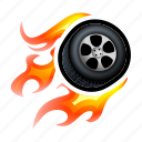 drive, fast, fire, race, super, tire, wheel icon