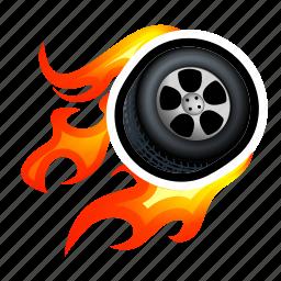 drive, fast, fire, race, super, tire, wheel icon