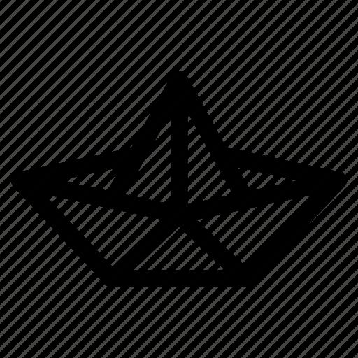 Boat Folded Folding Handcraft Origami Paper Icon