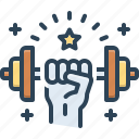 strength, force, power, strong, muscle, energy, weight icon