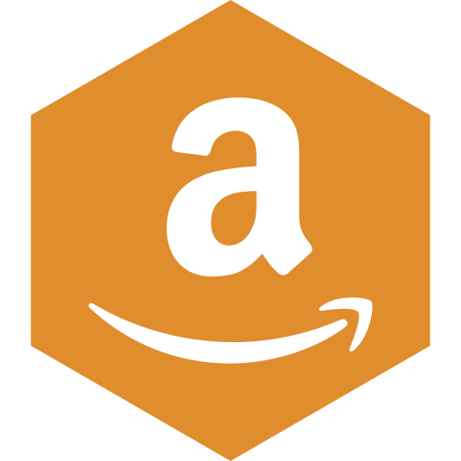 amazon, hexagon, media, social icon