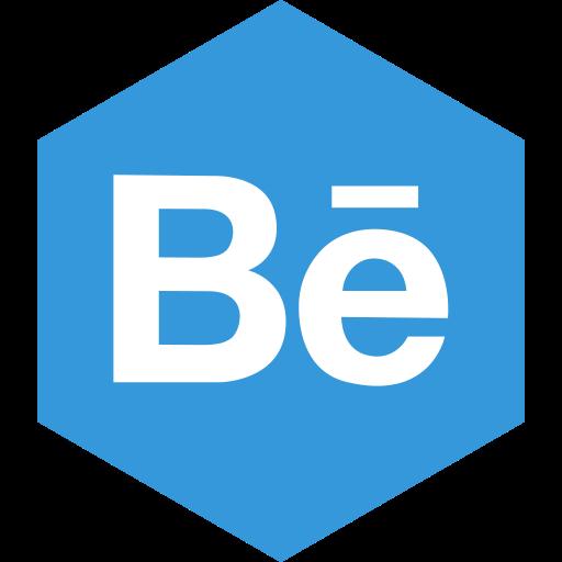 behance, hexagon, media, social icon