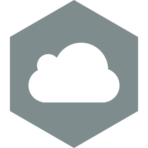 cloud, hexagon, media, social icon