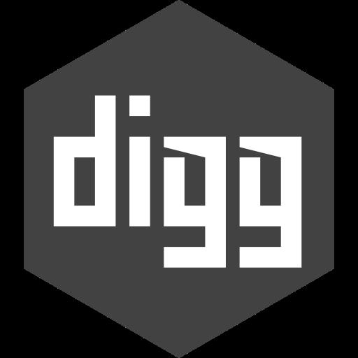 digg, hexagon, media, social icon