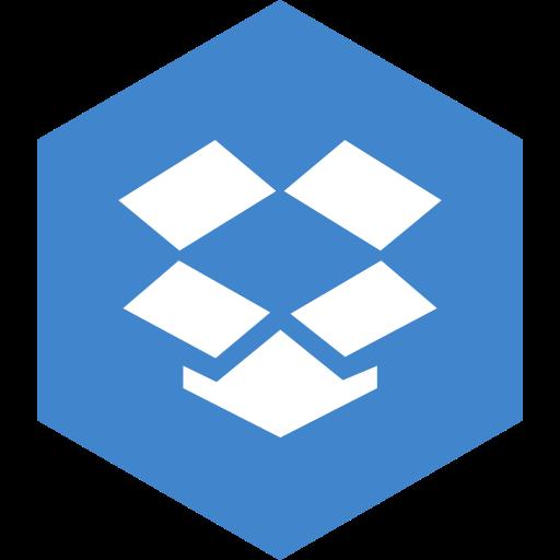 dropbox, hexagon, media, social icon