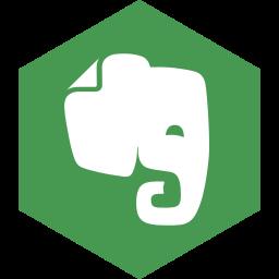 evernote, hexagon, media, social icon