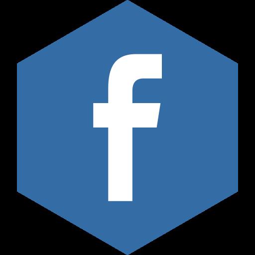 facebook, hexagon, media, social icon
