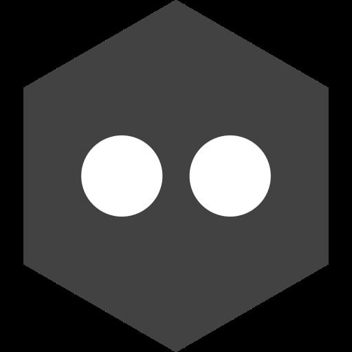flickr, hexagon, media, social icon