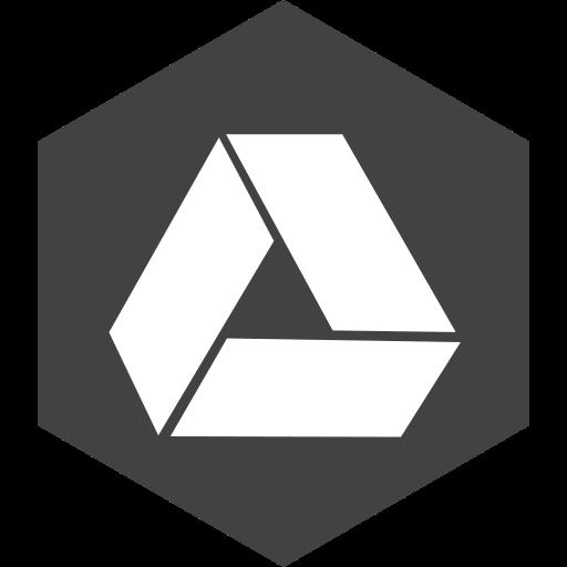 drive, google, hexagon, media, social icon