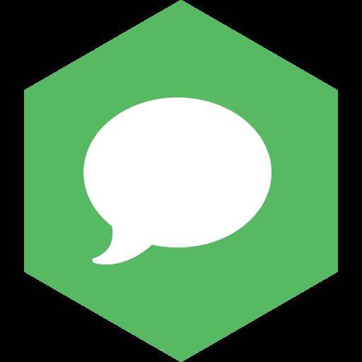 hexagon, imessage, media, social icon