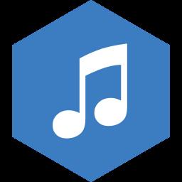 hexagon, itunes, media, social icon