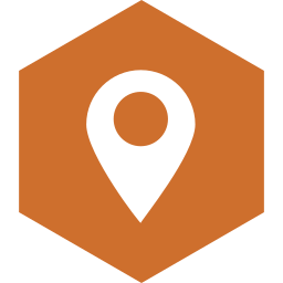 hexagon, location, media, social icon