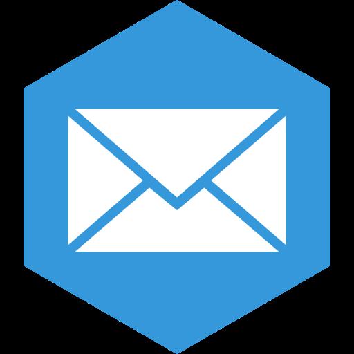 hexagon, mail, media, social icon