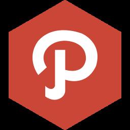 hexagon, media, path, social icon