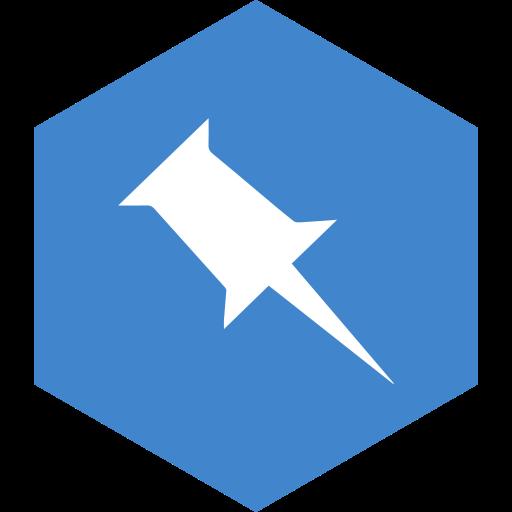 hexagon, media, pinboard, social icon