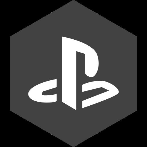 hexagon, media, playstation, social icon
