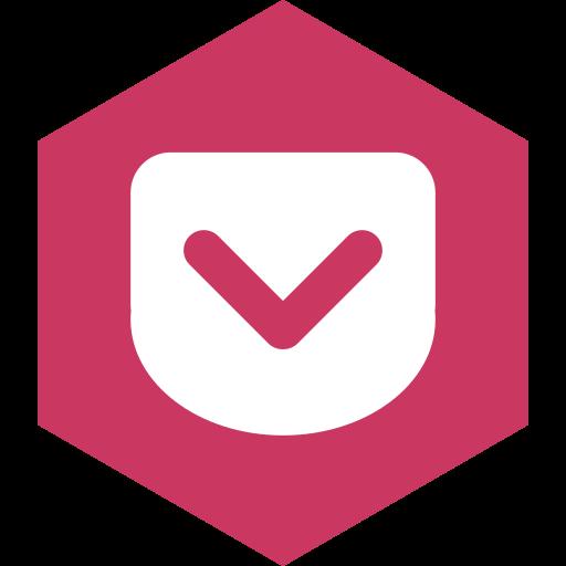hexagon, media, pocket, social icon
