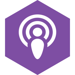 hexagon, media, podcast, social icon