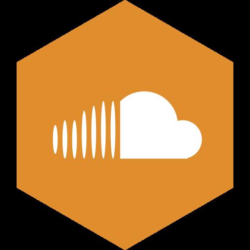 cloud, hexagon, media, social, sound icon