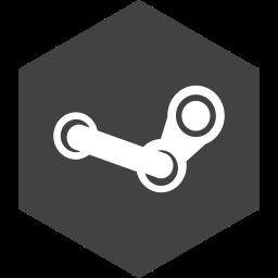 hexagon, media, social, steam icon