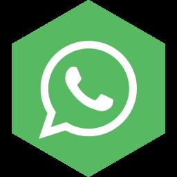 hexagon, media, social, whatsapp icon