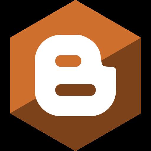 blogger, gloss, hexagon, media, social icon