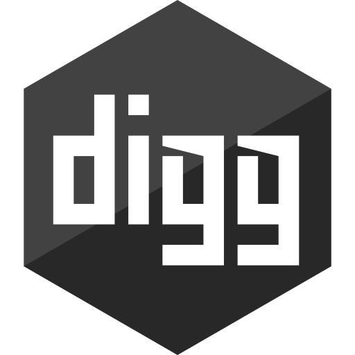 digg, gloss, hexagon, media, social icon